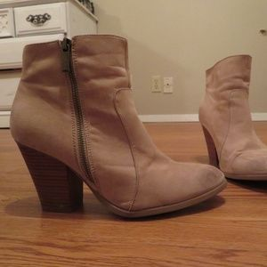 TAN SUEDE ANKLE BOOTIES, FALL BOOTIES
